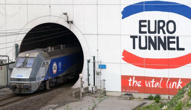 Un train sort de l'Eurotunnel, à Coquelles (Pas-de-Calais), en avril 2014.