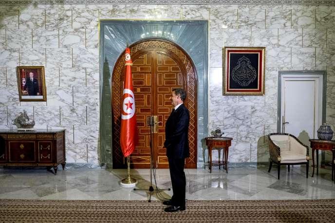 Nicolas Sarkozy au palais présidentiel de Carthage, lundi 20juillet 2015.