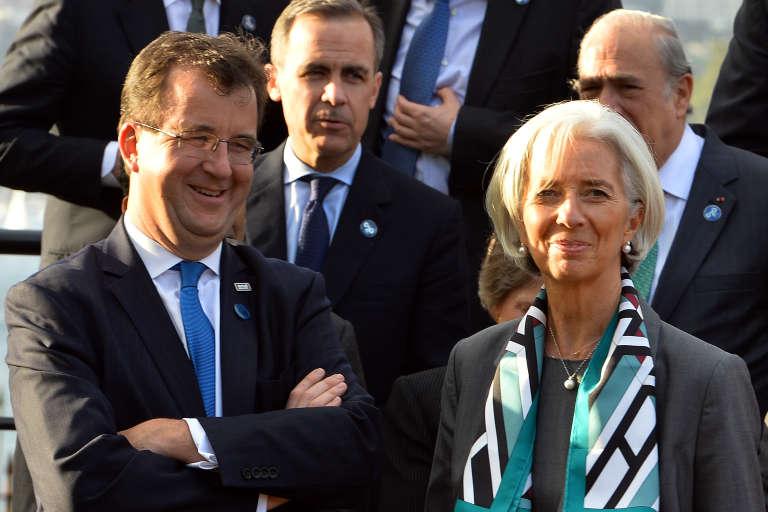 Bertrand Badré, directeur général et financier de la Banque mondiale, aux côtés de la directrice du FMI, Christine Lagarde.