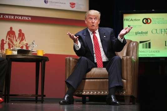 Donald Trump, candidat à la présidence des Etats-Unis,  le 18 juillet à Ames dans l'Iowa aux Etats-Unis.