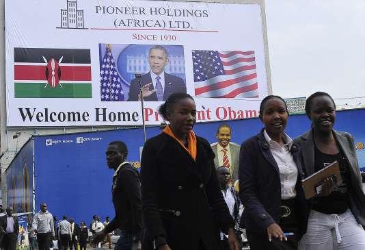 La visite du président américain est placardée dans les rue de Nairobi au Kenya le 22 juillet 2015.