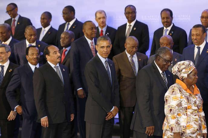 En bas à droite, la présidente de la commission de l'Union africaine, la Sud-AfricaineNkosazana Dlamini-Zuma lors du sommet Etats-Unis-Afrique à Washington, en août 2014.