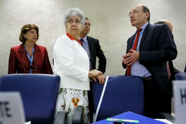 Flavia Pansieri (en blanc), au siège des Nations unies, à Genève, le 29juin.