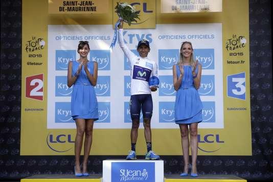 Quintana sur le podium d'arrivée le 23 juillet à Saint-Jean-de-Maurienne.