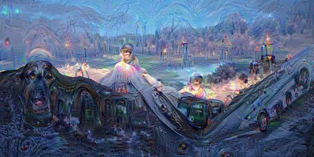 Le massif du Mont-Blanc vu par Deep Dream.
