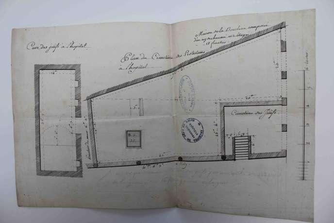 Plan du Cimetière des Juifs à l'Hôtel-Dieu, à Lyon (1778, Archives Départementales du Rhône)