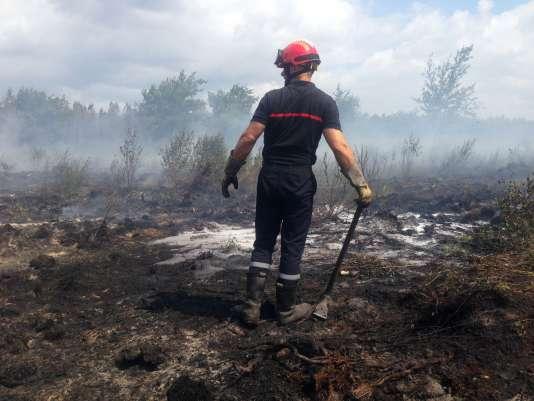 Près de Saint-Jean-d'Illac, à une vingtaine de kilomètres de Bordeaux, où le feu s'est déclaré vendredi.