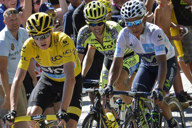 Chris Froome, Alberto Contador et Nairo Quintana dans l'ascension de l'Alpe d'Huez.