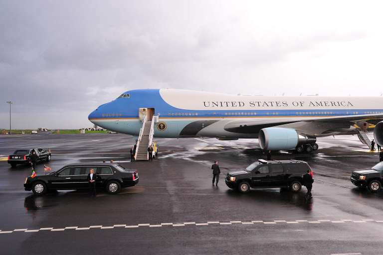 Air Force One, l'avion de Barack Obama, à l'aéroport d'Addis Abeba en Ethiopie, le 26 juillet 2015.