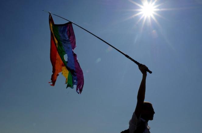 Un homme milite pour les droits des homosexuels lors de la Gay Pride à Saint-Pétersbourg en juillet 2014.