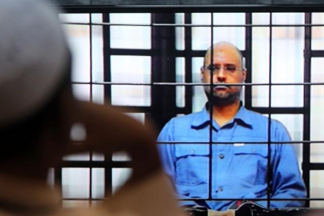 Saïf Al-Islam à Zintan, lors de son procès en mai 2014.