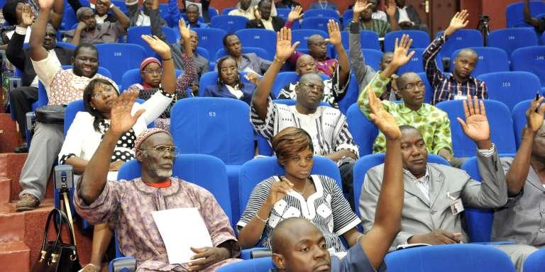 Le parlement intérimaire burkinabé, à Ouagadougou, le 16 juillet.