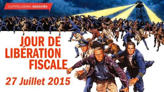 """Détournement, par Contribuables associés, de l'affiche de """"La grande évasion"""", afin de vanter son """"jour de libération fiscale""""."""