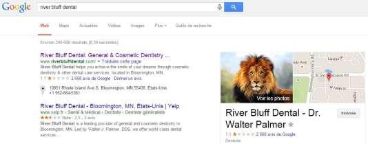Capture d'écran de la recherche du cabinet dentaire sur Google