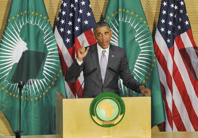 Barack Obama lors de son discours au siège de l'Union africaine à Addis-Abeba, le 28 juillet.