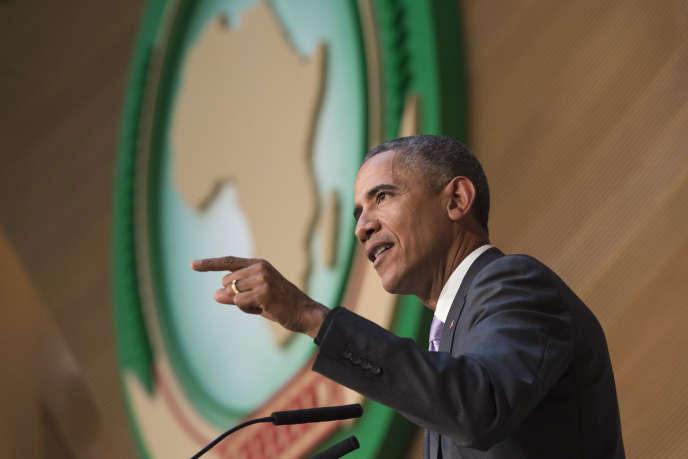 Barck Obama lors de son discours au siège de l'Union africaine à Addis Abeba, le 28 juillet 2015.