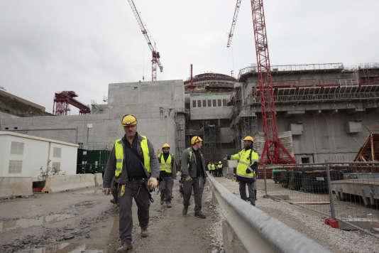Le site de l'EPR de Flamanville, construit par Areva, en novembre 2014.