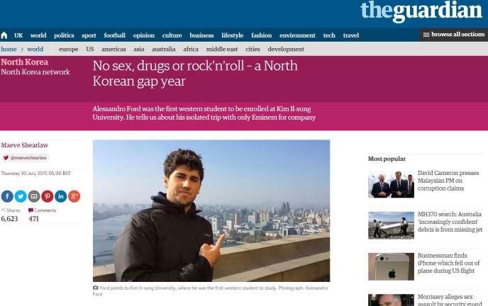 Une photo d'Alessandro Ford à Pyongyang publiée dans le quotidien britannique «The Guardian».