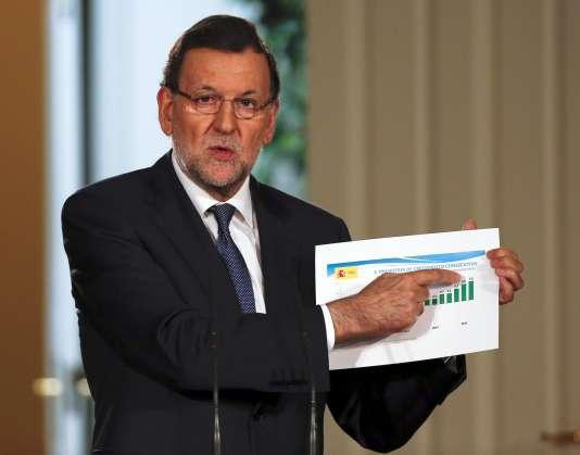 Le premier ministre espagnol Mariano Rajoy lors d'une conférence de presse, le 31juillet à Madrid.