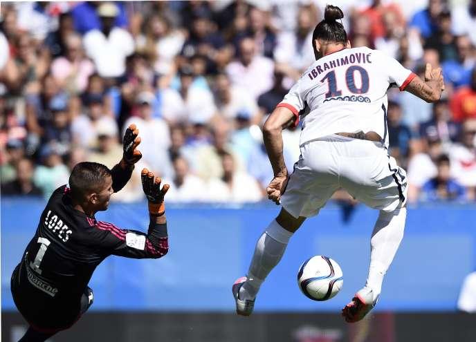 Zlatan Ibrahimovic lors du match contre l'OL pour le Trophée des champions, le 1er août.