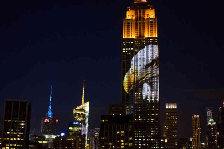Quarante projecteurs de 20 000 lumen avaient été utilisés pour cette projection, réalisée depuis le toit d'un immeuble voisin sur la 31e rue.