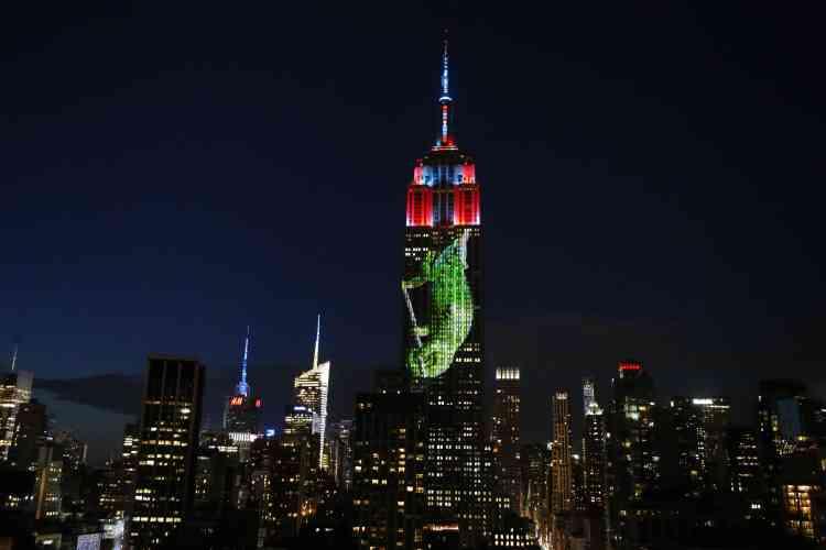 """L'Empire State Building, qui avait déjà illuminé son sommet en rouge en 2011, en référence au massacre dénoncé par """"The Cove"""", s'est facilement laissé convaincre."""