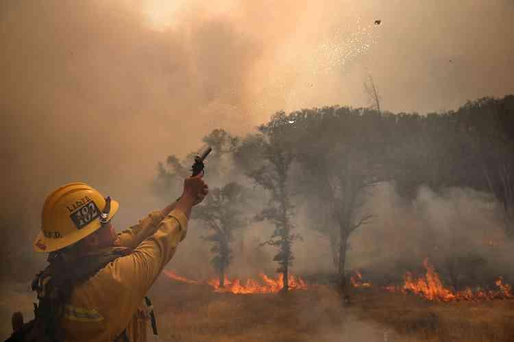 Selon le bureau du gouverneur de Californie, Jerry Brown, environ 9 600 personnes luttaient contre les flammes.