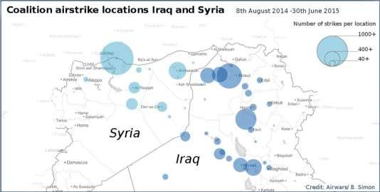 Les frappes aériennes en Syrie et en Irak, cartographiées par Airwars.org.
