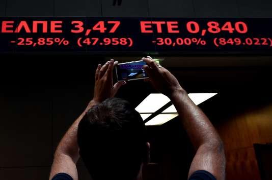L'indice boursier de la Bourse d'Athènes, à sa réouverture le 3 août.