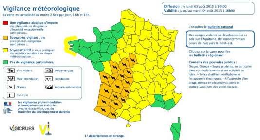 Prévisions Météo France du 3 août 2015.