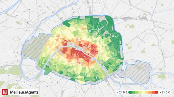 La carte des loyers à Paris selon meilleursagents.com