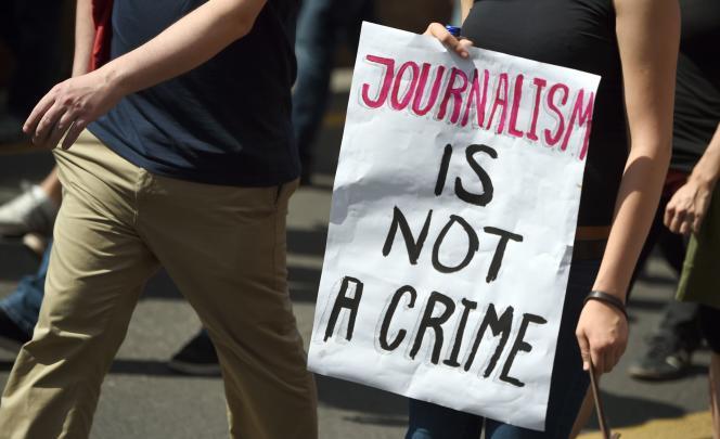Une affiche dans une manifestation pour la liberté de la presse à Berlin, le 1er août 2015.
