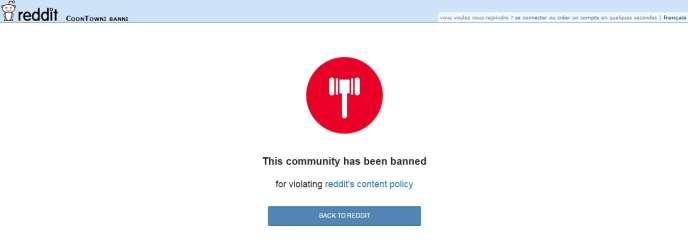 Le message indiquant que le forum Coontown a été banni.