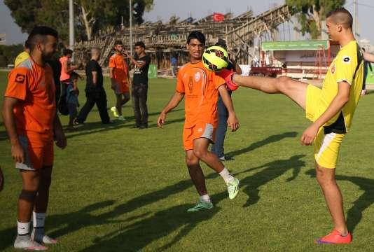 Les joueurs d'Al-Ahli à l'entraînement, le 5 août, à Gaza.