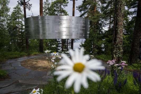 Le mémorial des victimes de la tuerie d'Utoya, le 5 août.