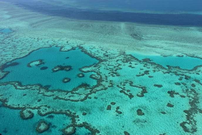 Vue de la Grande barrière de corail, depuis les îles Whitsunday en Australie.