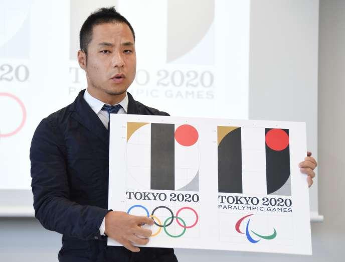Le créateur du logo des JO-2020 de Tokyo, Kenjiro Sano, répond aux accusations de plagiat, le 5 août.
