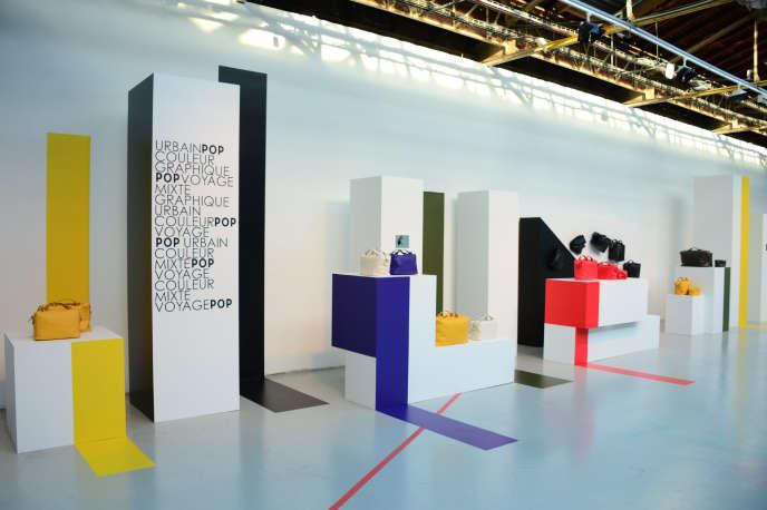 Soirée de lancement de la nouvelle collection Pop de Lancel, au Palais de Tokyo, à Paris, le 23 avril 2015. Le groupe espère moderniser son image avec cette nouvelle ligne de maroquinerie.