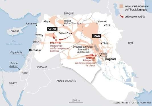 """Carte des avancées de l""""EI en Irak et en Syrie."""