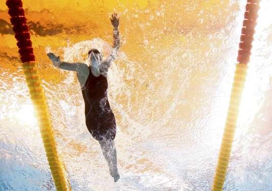 Katie Ledecky lors des séries sur le 1 500 m nage libre, le 3 août, à Kazan.