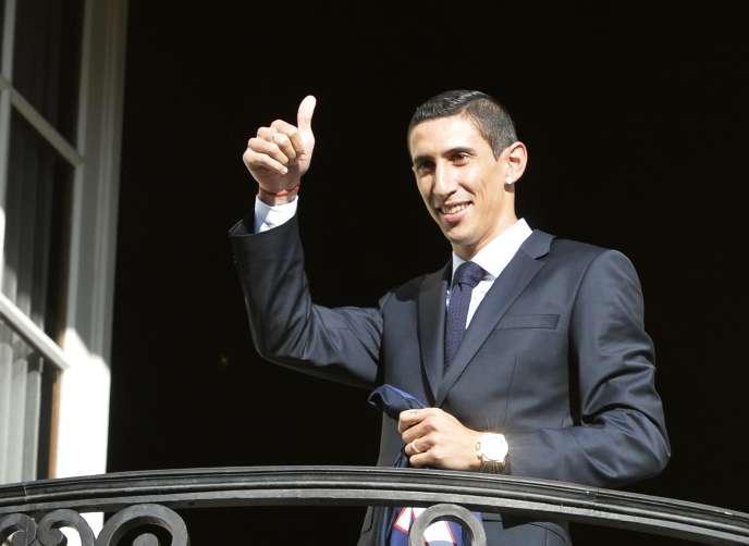 La recrue argentine du PSG, Angel Di Maria, à Paris, le 6 août, lors de sa présentation officielle.