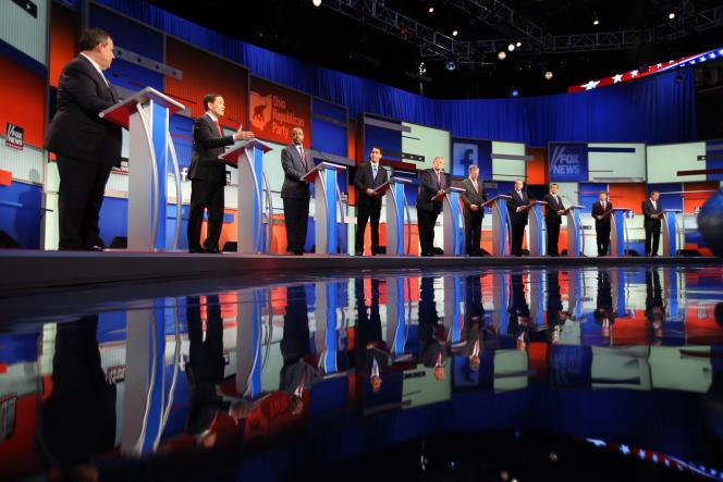 Chris Christie, Marco Rubio, Ben Carson, Scott Walker, Donald Trump, Jeb Bush, Mike Huckabee, Ted Cruz, Rand Paul et John Kasich, le 6 août à Cleveland.
