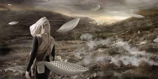 """""""Flying Saucers"""". """"In the Future, They Ate from the Finest Porcelain"""" est une série de photos destinées à un court-métrage qui mélange science-fiction, archéologie et politique au Moyen-Orient."""