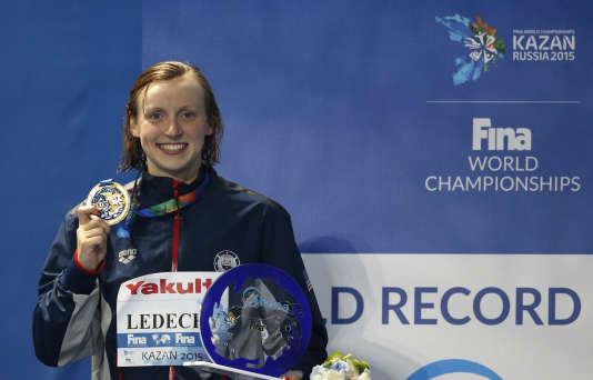 Katie Ledecky à l'issue du 800 m nage libre, le 8 août, aux Mondiaux de Kazan.