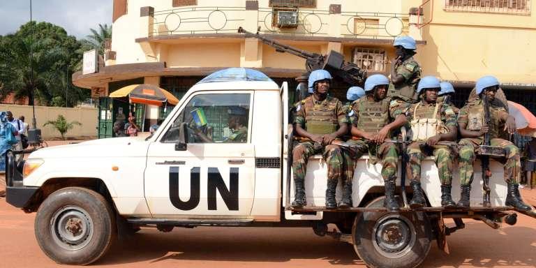 Une patrouille de la Minusca (la mission des Nations unies en Centrafrique), le 9décembre 2014, à Bangui.