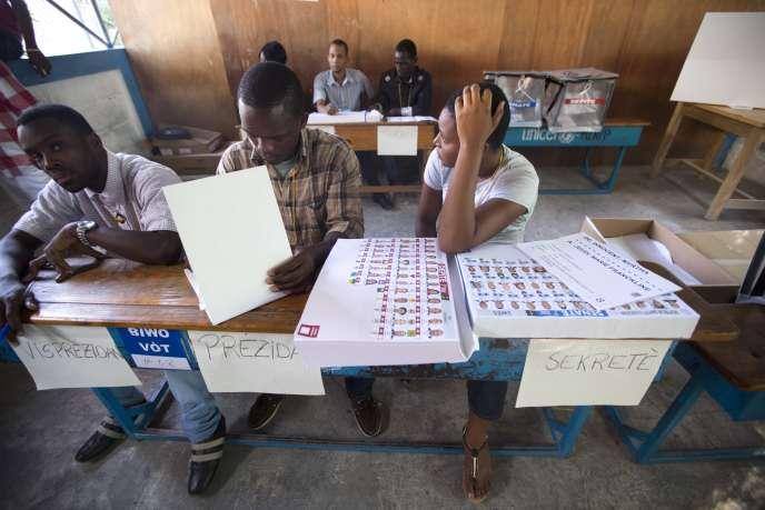 Lors des élections parlementaires en Haïti, le 9 août 2015.