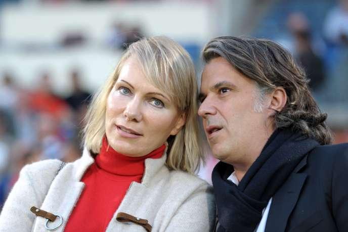 La propriétaire de l'OM, Margarita Louis-Dreyfus, et Vincent Labrune, président du club, le 12 avril, à Bordeaux.