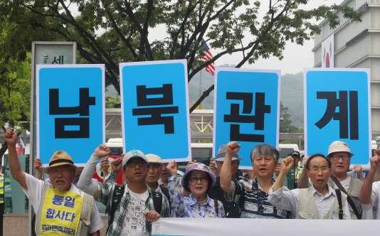 Lors d'un rassemblement en faveur de la réunification des deux Corées, le 10 août.