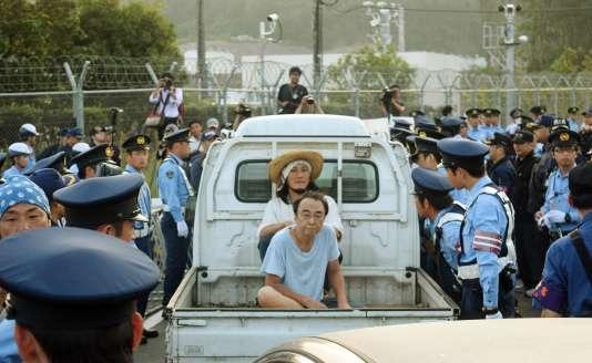 Manifestation contre le redémarrage d'un des réacteurs de la centrale nucléaire de de Sendai, au Japon.