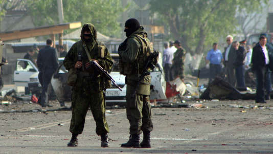 Des membres des forces spéciales russes à Makhachkala, la capitale du Daghestan, en mai 2012, après un double attentat à la bombe contre un poste de police local.